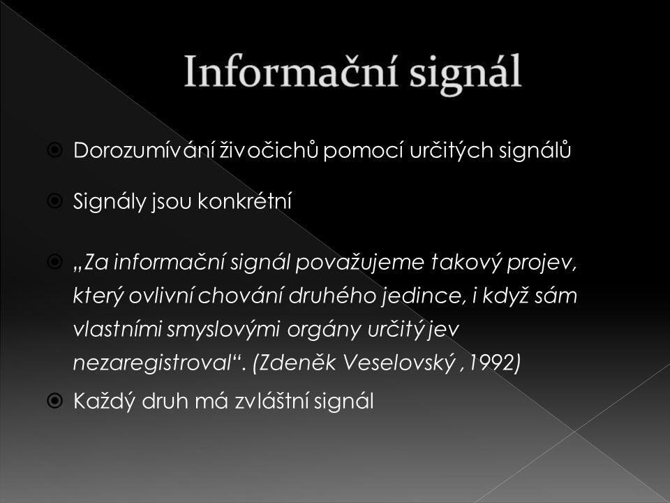 """ Dorozumívání živočichů pomocí určitých signálů  Signály jsou konkrétní  """"Za informační signál považujeme takový projev, který ovlivní chování druhého jedince, i když sám vlastními smyslovými orgány určitý jev nezaregistroval ."""