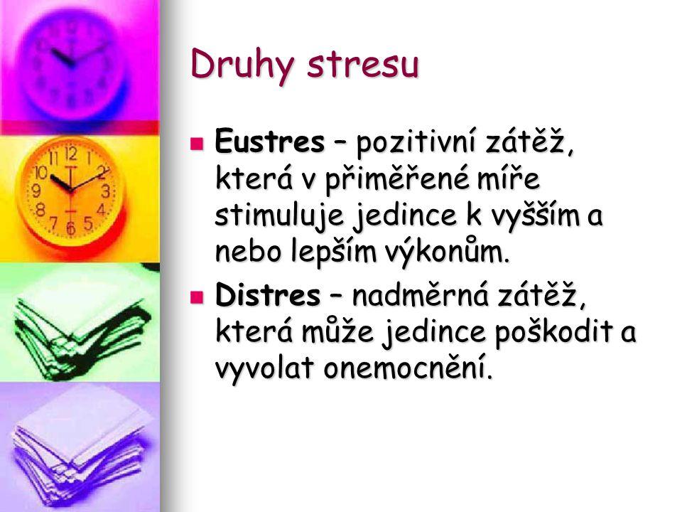 Druhy stresu Eustres – pozitivní zátěž, která v přiměřené míře stimuluje jedince k vyšším a nebo lepším výkonům. Eustres – pozitivní zátěž, která v př
