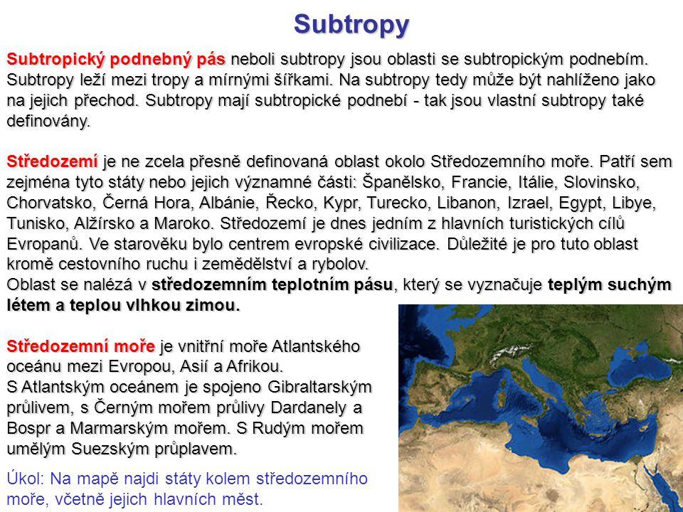 Subtropy Subtropický podnebný pás neboli subtropy jsou oblasti se subtropickým podnebím. Subtropy leží mezi tropy a mírnými šířkami. Na subtropy tedy