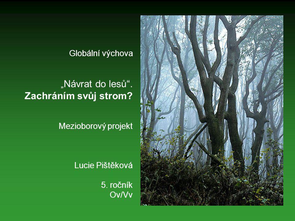 """Globální výchova """" Návrat do lesů"""". Zachráním svůj strom? Mezioborový projekt Lucie Pištěková 5. ročník Ov/Vv"""