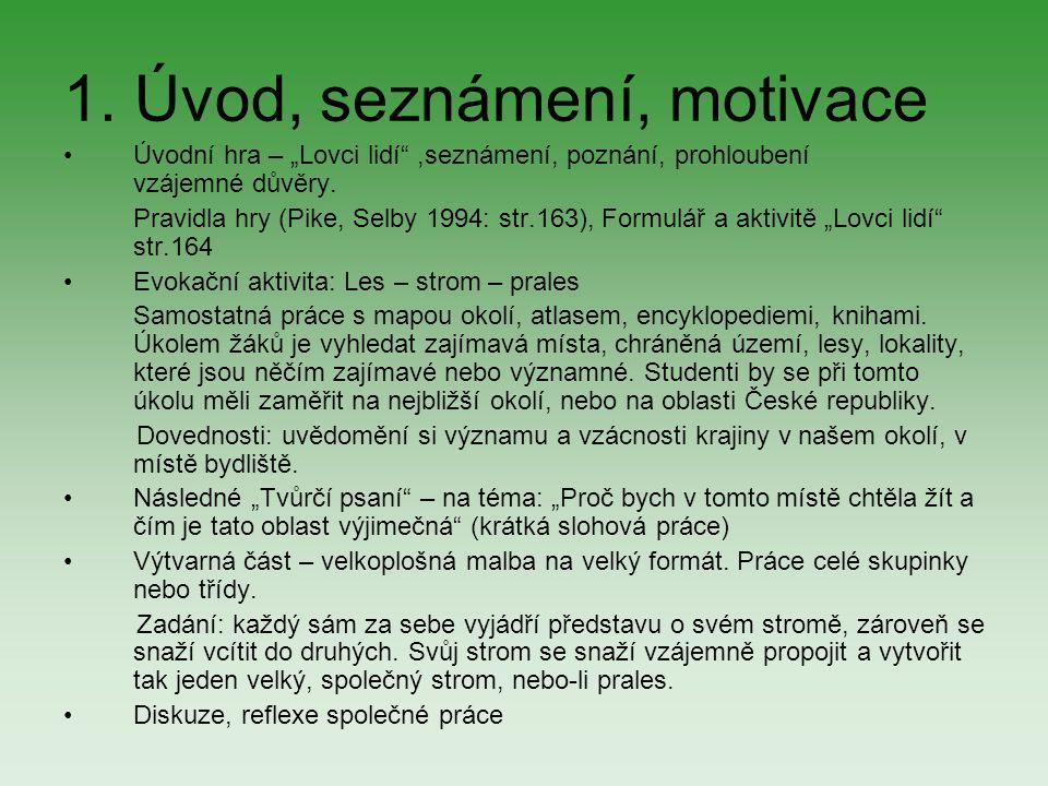 """1. Úvod, seznámení, motivace Úvodní hra – """"Lovci lidí"""",seznámení, poznání, prohloubení vzájemné důvěry. Pravidla hry (Pike, Selby 1994: str.163), Form"""