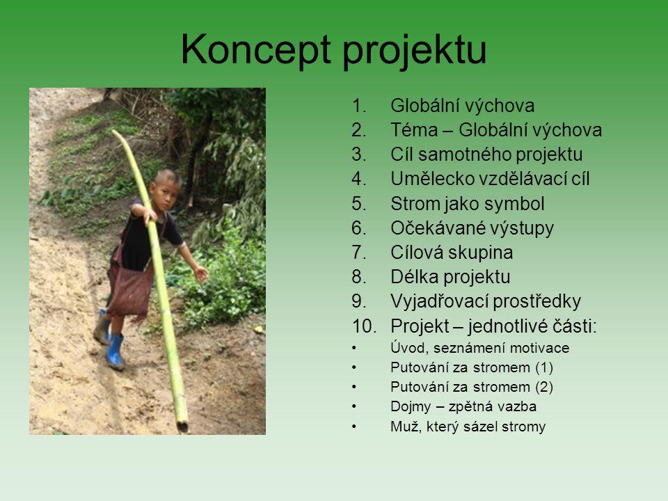 Koncept projektu 1.Globální výchova 2.Téma – Globální výchova 3.Cíl samotného projektu 4.Umělecko vzdělávací cíl 5.Strom jako symbol 6.Očekávané výstu