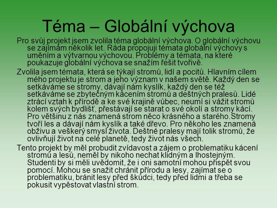 Téma – Globální výchova Pro svůj projekt jsem zvolila téma globální výchova. O globální výchovu se zajímám několik let. Ráda propojuji témata globální