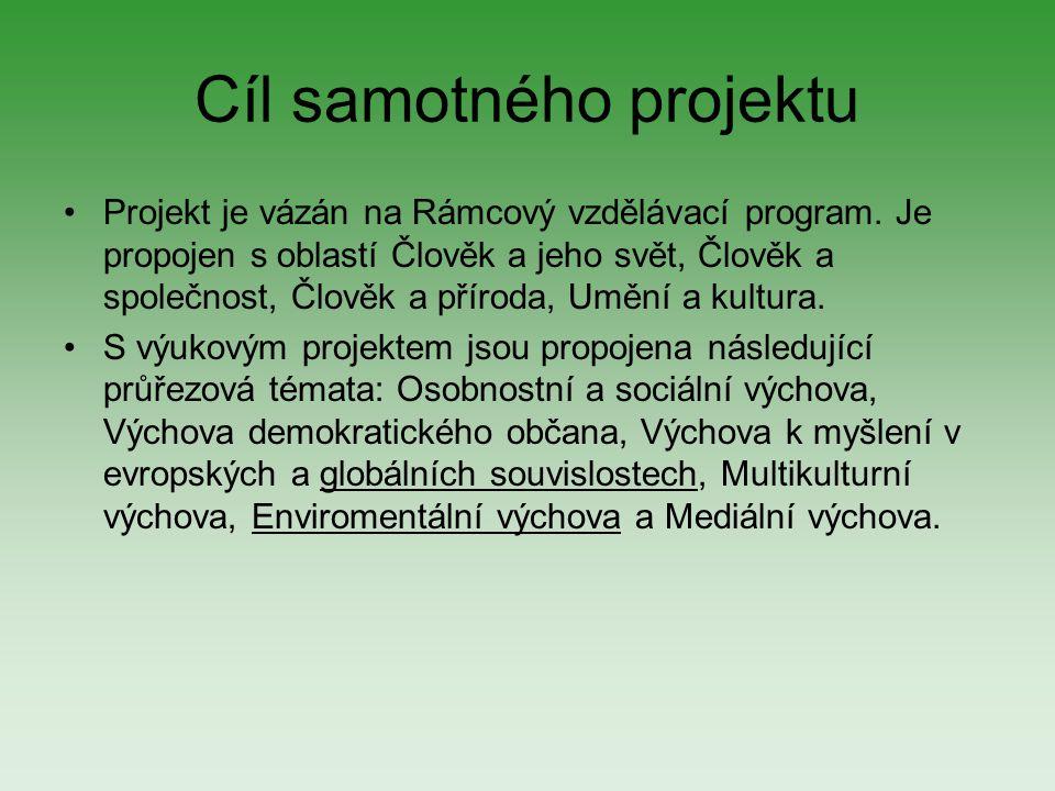 Cíl samotného projektu Projekt je vázán na Rámcový vzdělávací program. Je propojen s oblastí Člověk a jeho svět, Člověk a společnost, Člověk a příroda