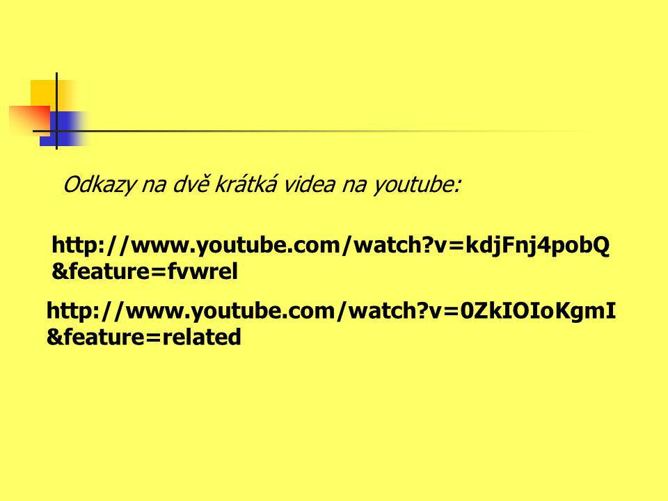 http://www.youtube.com/watch?v=kdjFnj4pobQ &feature=fvwrel http://www.youtube.com/watch?v=0ZkIOIoKgmI &feature=related Odkazy na dvě krátká videa na youtube: