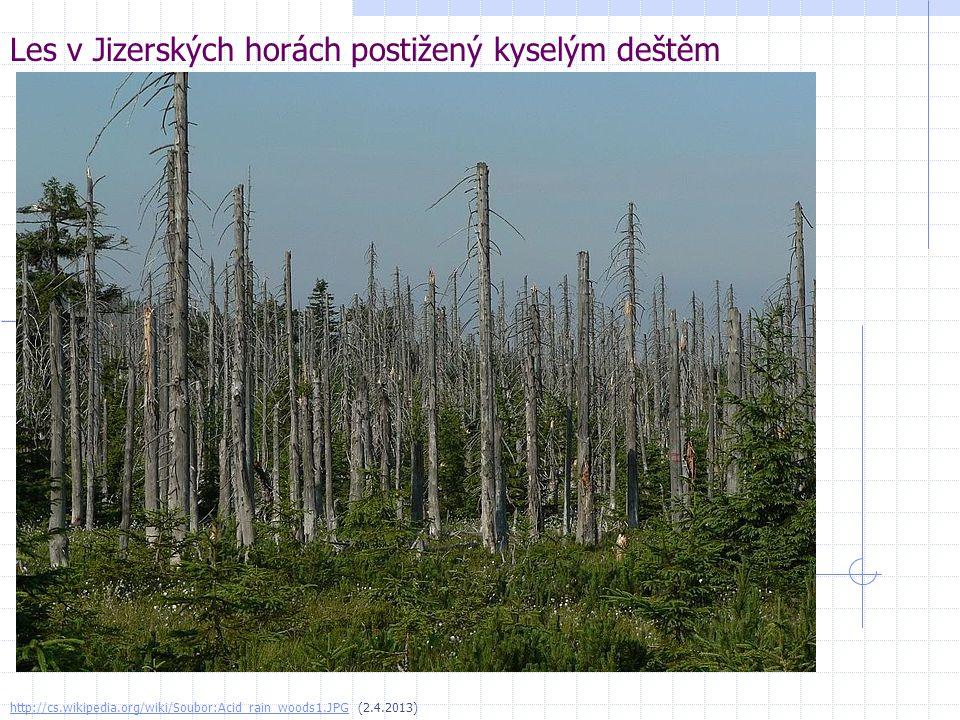 Les v Jizerských horách postižený kyselým deštěm http://cs.wikipedia.org/wiki/Soubor:Acid_rain_woods1.JPGhttp://cs.wikipedia.org/wiki/Soubor:Acid_rain