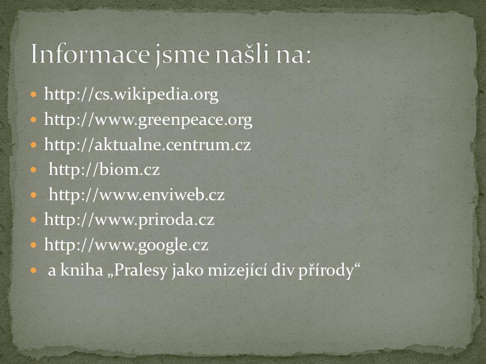 http://cs.wikipedia.org http://www.greenpeace.org http://aktualne.centrum.cz http://biom.cz http://www.enviweb.cz http://www.priroda.cz http://www.goo