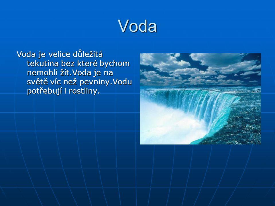 Voda Voda je velice důležitá tekutina bez které bychom nemohli žít.Voda je na světě víc než pevniny.Vodu potřebují i rostliny.