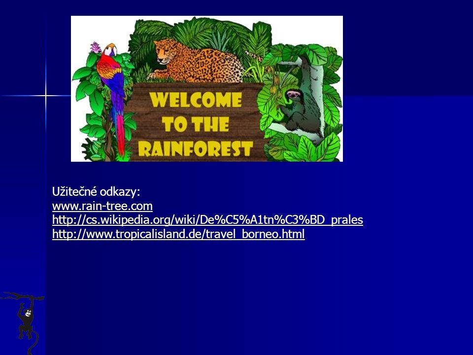 Užitečné odkazy: www.rain-tree.com http://cs.wikipedia.org/wiki/De%C5%A1tn%C3%BD_prales http://www.tropicalisland.de/travel_borneo.html