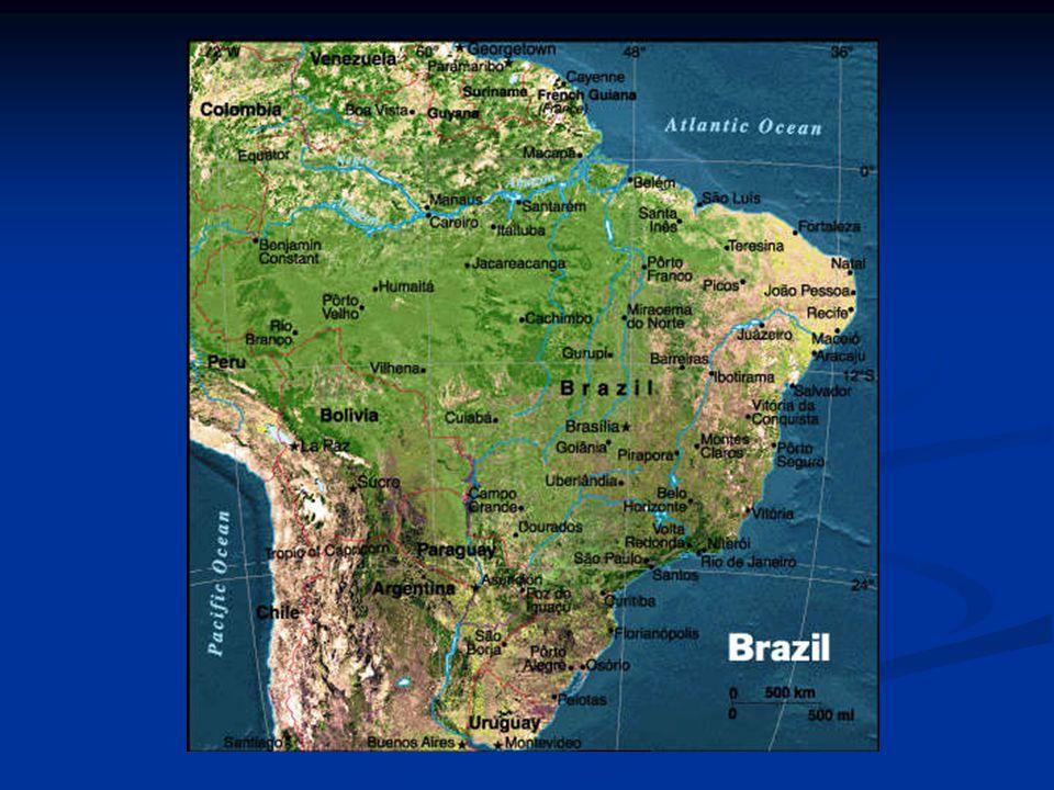 Základní údaje Rozloha: 8 511 965 km² (největší země jižní Ameriky) Rozloha: 8 511 965 km² (největší země jižní Ameriky) Počet obyvatel: 169 544 443 Počet obyvatel: 169 544 443 Hustota zalidnění: 19,9 obyvatel/km² Hustota zalidnění: 19,9 obyvatel/km² Úřední jazyk: portugalština Úřední jazyk: portugalština Měna: 1 cruziro real = 100 centavů Měna: 1 cruziro real = 100 centavů Hlavní město: Brasília (2 miliony obyvatel spolu se satelitními městy) Hlavní město: Brasília (2 miliony obyvatel spolu se satelitními městy) Nejvyšší hora: Pico de Neblina (3014 m ) Nejvyšší hora: Pico de Neblina (3014 m ) Nejdelší řeka: Amazonka (část) 6 570 km Nejdelší řeka: Amazonka (část) 6 570 km
