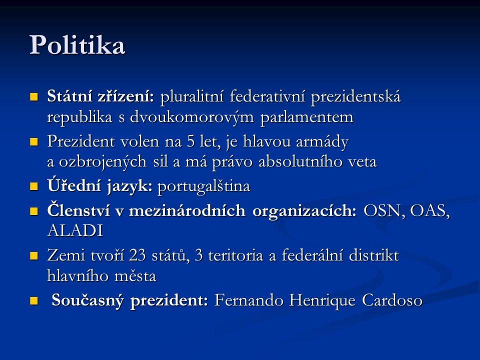 Politika Státní zřízení: pluralitní federativní prezidentská republika s dvoukomorovým parlamentem Státní zřízení: pluralitní federativní prezidentská
