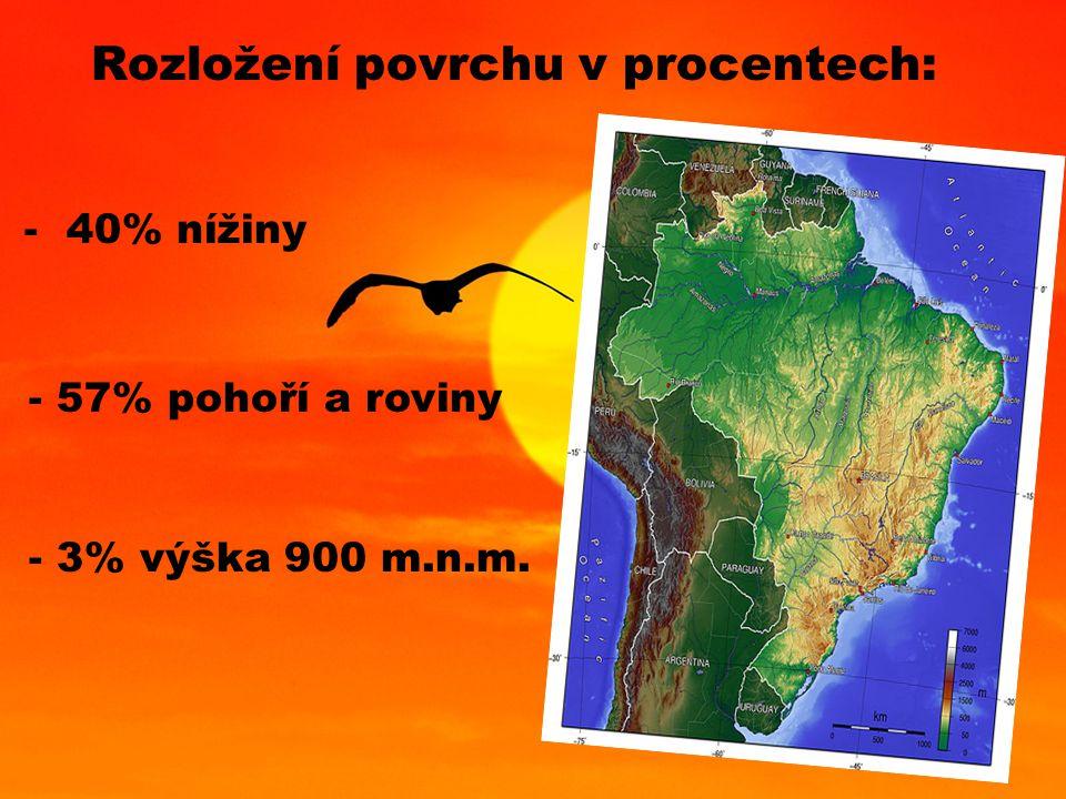 Rozložení povrchu v procentech: - 40% nížiny - 57% pohoří a roviny - 3% výška 900 m.n.m.