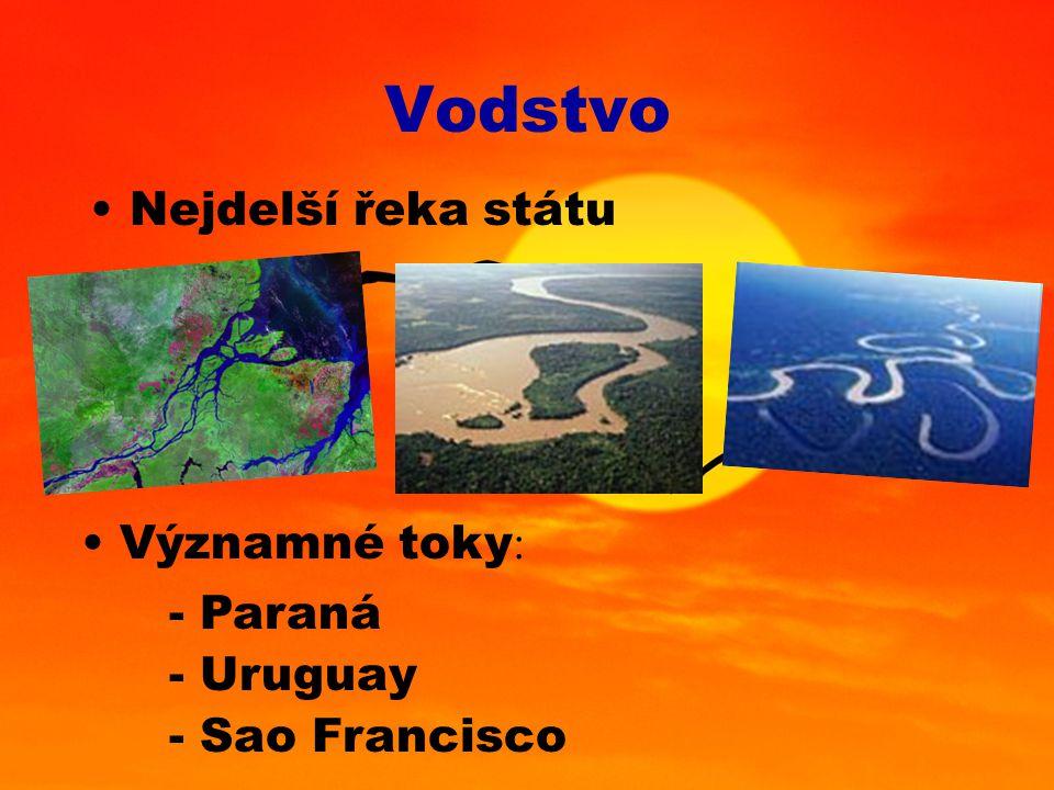 Vodstvo Nejdelší řeka státu Významné toky : - Paraná - Uruguay - Sao Francisco