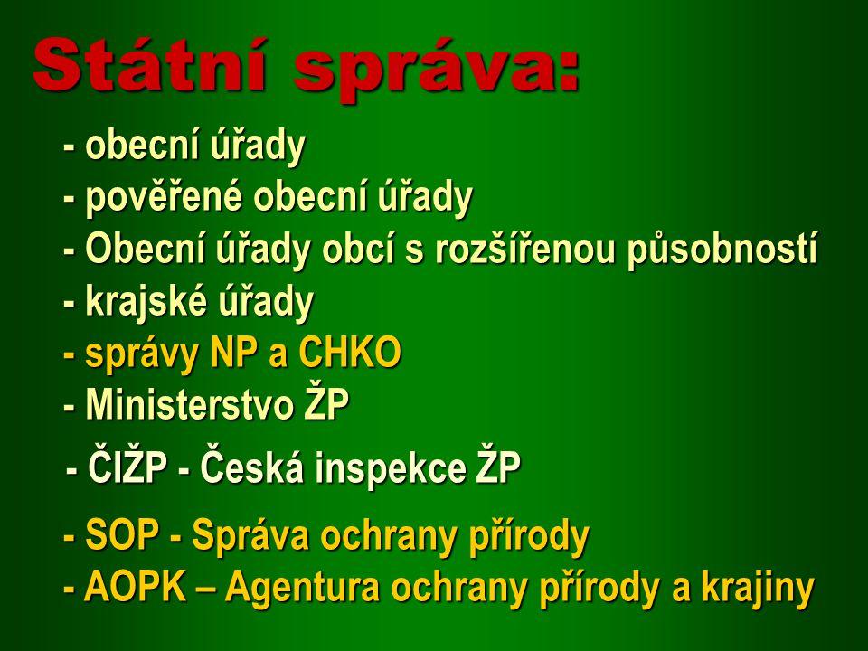 - obecní úřady - pověřené obecní úřady - Obecní úřady obcí s rozšířenou působností - krajské úřady - správy NP a CHKO - Ministerstvo ŽP - ČIŽP - Česká
