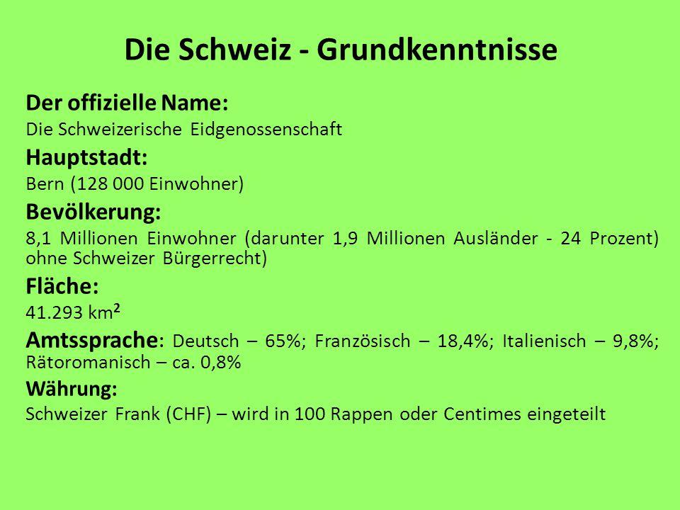 Die Schweiz - Grundkenntnisse Der offizielle Name: Die Schweizerische Eidgenossenschaft Hauptstadt: Bern (128 000 Einwohner) Bevölkerung: 8,1 Millione