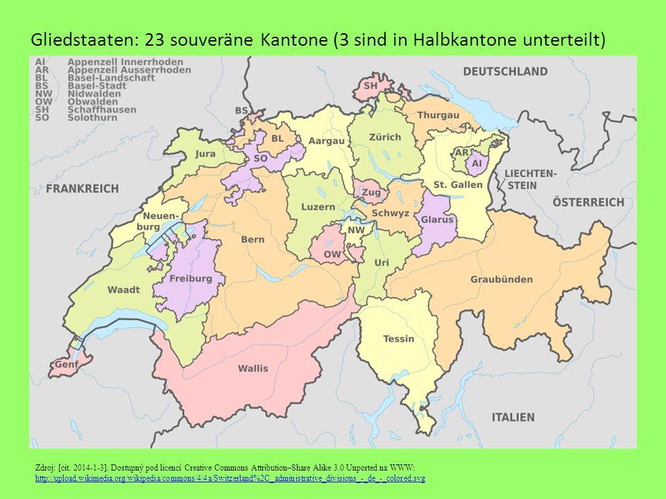Gliedstaaten: 23 souveräne Kantone (3 sind in Halbkantone unterteilt) Zdroj: [cit. 2014-1-3]. Dostupný pod licencí Creative Commons Attribution–Share