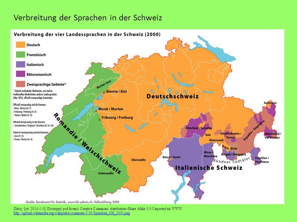 Verbreitung der Sprachen in der Schweiz Zdroj: [cit. 2014-1-3]. Dostupný pod licencí Creative Commons Attribution–Share Alike 3.0 Unported na WWW: htt