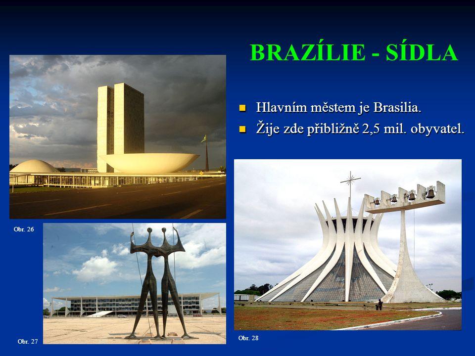 BRAZÍLIE - SÍDLA Hlavním městem je Brasilia.Hlavním městem je Brasilia.