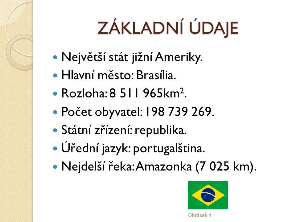 ZÁKLADNÍ ÚDAJE Největší stát jižní Ameriky. Hlavní město: Brasília.
