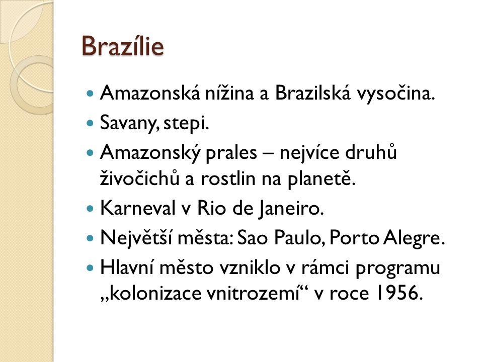 Brazílie Amazonská nížina a Brazilská vysočina. Savany, stepi.