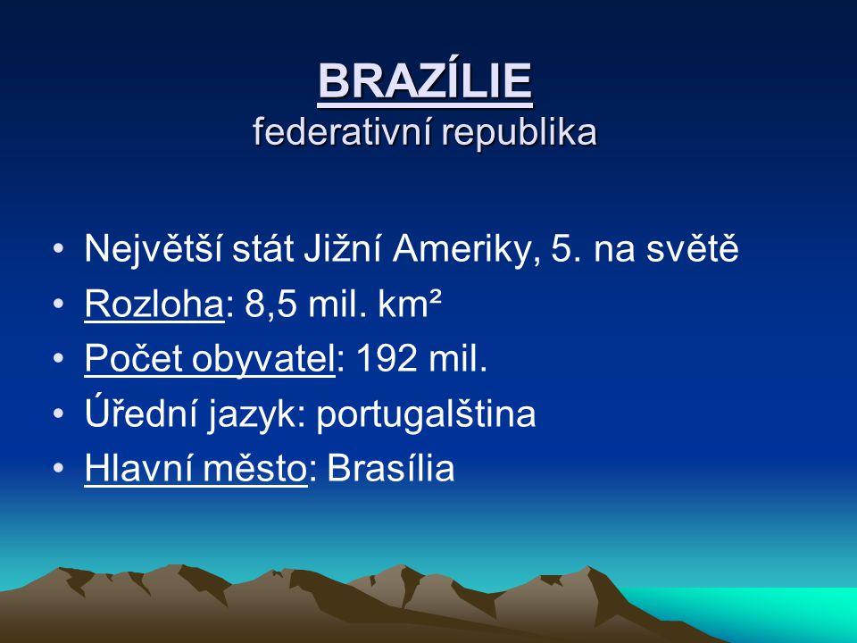 BRAZÍLIE federativní republika Největší stát Jižní Ameriky, 5. na světě Rozloha: 8,5 mil. km² Počet obyvatel: 192 mil. Úřední jazyk: portugalština Hla