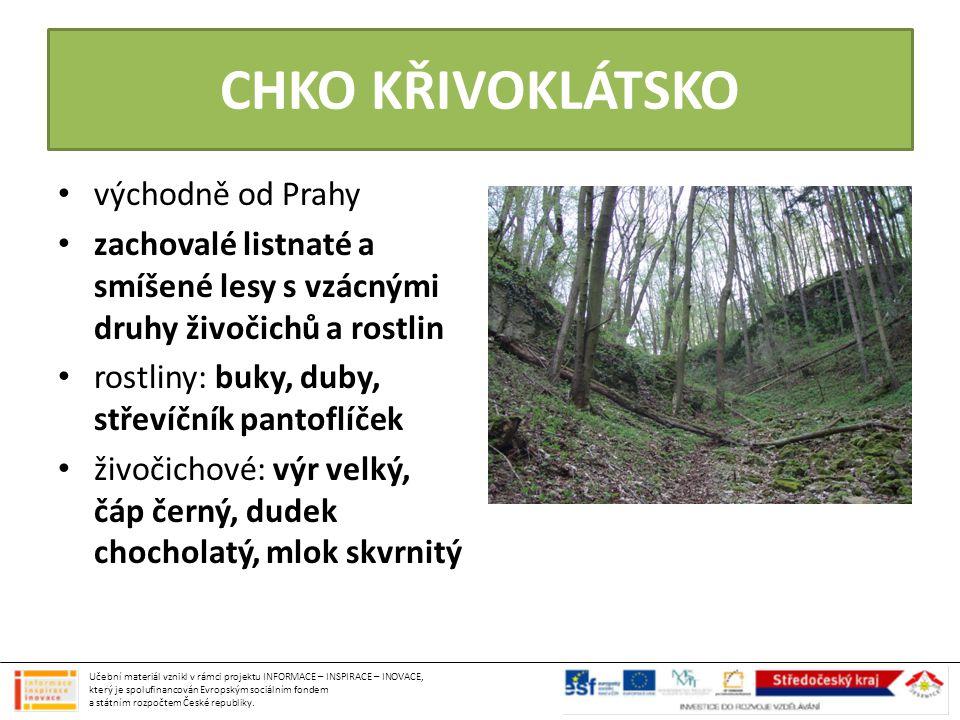 CHKO KŘIVOKLÁTSKO východně od Prahy zachovalé listnaté a smíšené lesy s vzácnými druhy živočichů a rostlin rostliny: buky, duby, střevíčník pantoflíče