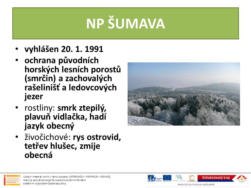 NP ŠUMAVA vyhlášen 20. 1. 1991 ochrana původních horských lesních porostů (smrčin) a zachovalých rašelinišť a ledovcových jezer rostliny: smrk ztepilý