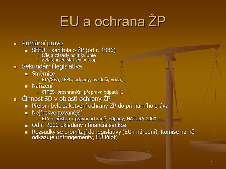 EU a ochrana ŽP Primární právo Primární právo SFEU – kapitola o ŽP (od r. 1986) SFEU – kapitola o ŽP (od r. 1986) Cíle a zásady politiky Unie Cíle a z