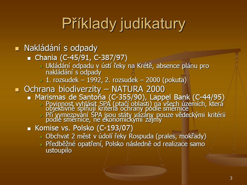 Příklady judikatury Nakládání s odpady Nakládání s odpady Chania (C-45/91, C-387/97) Chania (C-45/91, C-387/97) Ukládání odpadu v ústí řeky na Krétě, absence plánu pro nakládání s odpady Ukládání odpadu v ústí řeky na Krétě, absence plánu pro nakládání s odpady 1.
