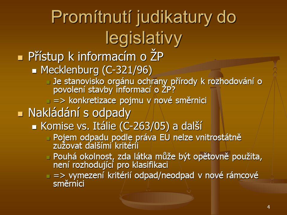 Promítnutí judikatury do legislativy Přístup k informacím o ŽP Přístup k informacím o ŽP Mecklenburg (C-321/96) Mecklenburg (C-321/96) Je stanovisko orgánu ochrany přírody k rozhodování o povolení stavby informací o ŽP.
