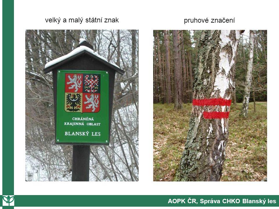 AOPK ČR, Správa CHKO Blanský les velký a malý státní znak pruhové značení
