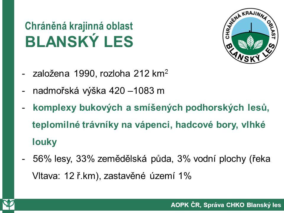 AOPK ČR, Správa CHKO Blanský les Chráněná krajinná oblast BLANSKÝ LES - založena 1990, rozloha 212 km 2 - nadmořská výška 420 –1083 m - komplexy bukových a smíšených podhorských lesů, teplomilné trávníky na vápenci, hadcové bory, vlhké louky - 56% lesy, 33% zemědělská půda, 3% vodní plochy (řeka Vltava: 12 ř.km), zastavěné území 1%