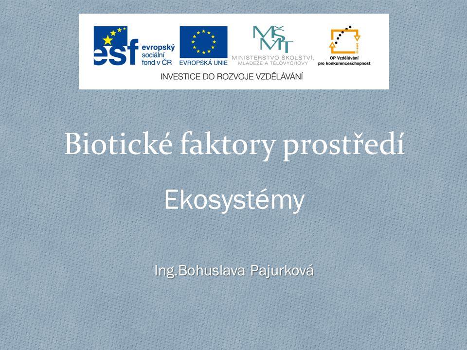Biotické faktory prostředí Ekosystémy Ing.Bohuslava Pajurková