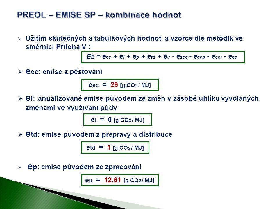  Užitím skutečných a tabulkových hodnot a vzorce dle metodik ve směrnici Příloha V :  e ec: emise z pěstování  e l: anualizované emise původem ze změn v zásobě uhlíku vyvolaných změnami ve využívání půdy  e td: emise původem z přepravy a distribuce  e p: emise původem ze zpracování e ec = 29 [g CO 2 / MJ] e u = 12,61 [g CO 2 / MJ] e l = 0 [g CO 2 / MJ] e td = 1 [g CO 2 / MJ] E B = e ec + e l + e p + e td + e u - e sca - e ccs - e ccr - e ee