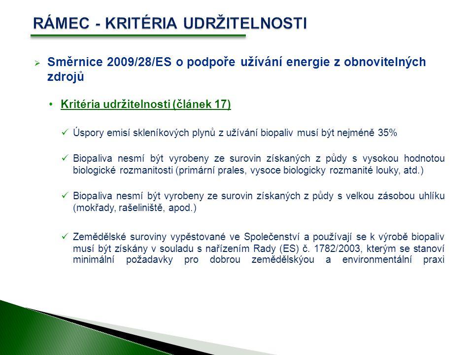  Směrnice 2009/28/ES o podpoře užívání energie z obnovitelných zdrojů Kritéria udržitelnosti (článek 17) Úspory emisí skleníkových plynů z užívání biopaliv musí být nejméně 35% Biopaliva nesmí být vyrobeny ze surovin získaných z půdy s vysokou hodnotou biologické rozmanitosti (primární prales, vysoce biologicky rozmanité louky, atd.) Biopaliva nesmí být vyrobeny ze surovin získaných z půdy s velkou zásobou uhlíku (mokřady, rašeliniště, apod.) Zemědělské suroviny vypěstované ve Společenství a používají se k výrobě biopaliv musí být získány v souladu s nařízením Rady (ES) č.