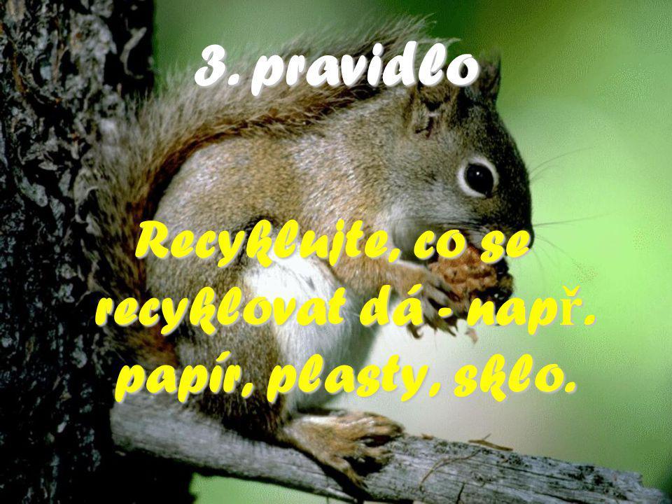 3.pravidlo 3. pravidlo Recyklujte, co se recyklovat dá - nap ř. papír, plasty, sklo.
