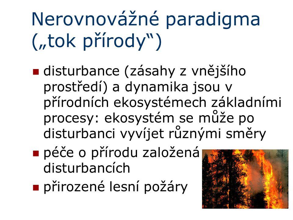 """Nerovnovážné paradigma (""""tok přírody ) disturbance (zásahy z vnějšího prostředí) a dynamika jsou v přírodních ekosystémech základními procesy: ekosystém se může po disturbanci vyvíjet různými směry péče o přírodu založená na disturbancích přirozené lesní požáry"""