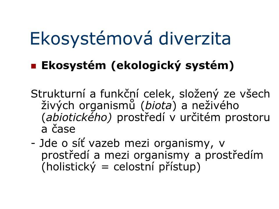 Ekosystémová diverzita Ekosystém (ekologický systém) Strukturní a funkční celek, složený ze všech živých organismů (biota) a neživého (abiotického) prostředí v určitém prostoru a čase - Jde o síť vazeb mezi organismy, v prostředí a mezi organismy a prostředím (holistický = celostní přístup)
