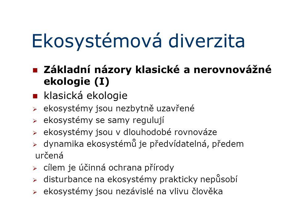 Ekosystémová diverzita Základní názory klasické a nerovnovážné ekologie (I) klasická ekologie  ekosystémy jsou nezbytně uzavřené  ekosystémy se samy