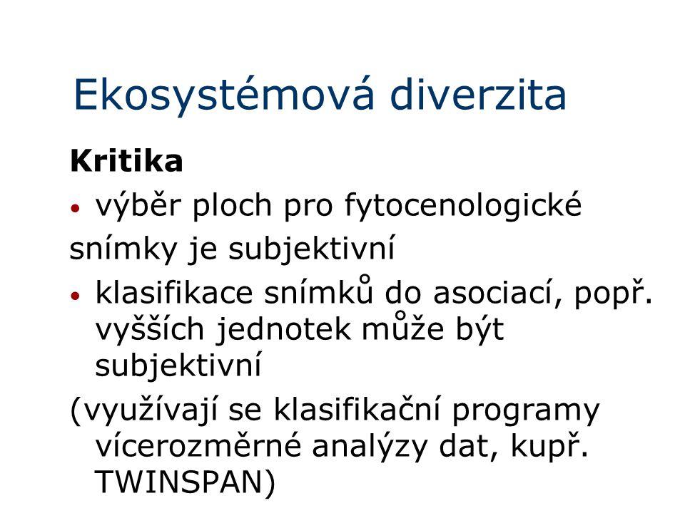 Ekosystémová diverzita Kritika výběr ploch pro fytocenologické snímky je subjektivní klasifikace snímků do asociací, popř. vyšších jednotek může být s