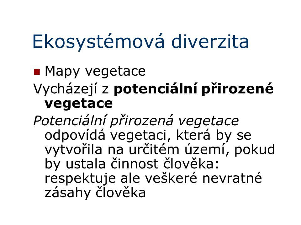 Ekosystémová diverzita Mapy vegetace Vycházejí z potenciální přirozené vegetace Potenciální přirozená vegetace odpovídá vegetaci, která by se vytvořil