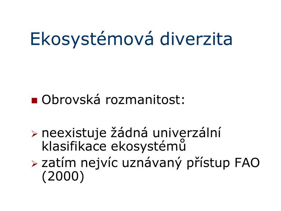 Ekosystémová diverzita Obrovská rozmanitost:  neexistuje žádná univerzální klasifikace ekosystémů  zatím nejvíc uznávaný přístup FAO (2000)