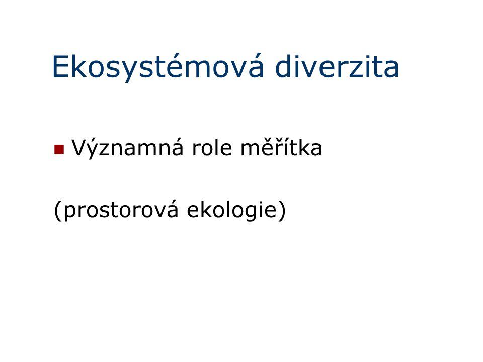 Ekosystémová diverzita Významná role měřítka (prostorová ekologie)