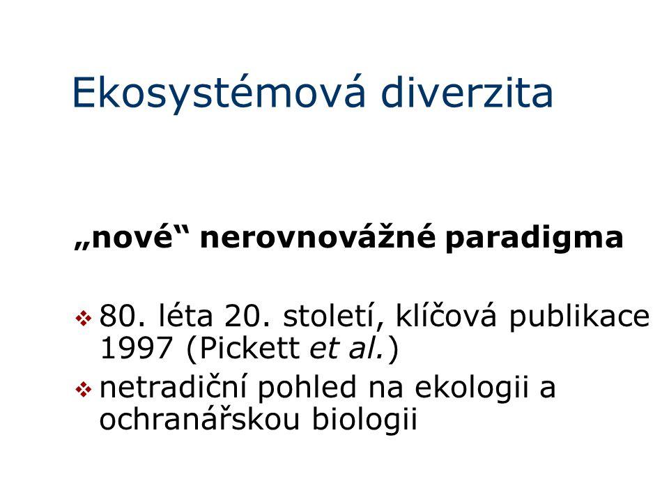 """Ekosystémová diverzita """"nové"""" nerovnovážné paradigma  80. léta 20. století, klíčová publikace 1997 (Pickett et al.)  netradiční pohled na ekologii a"""