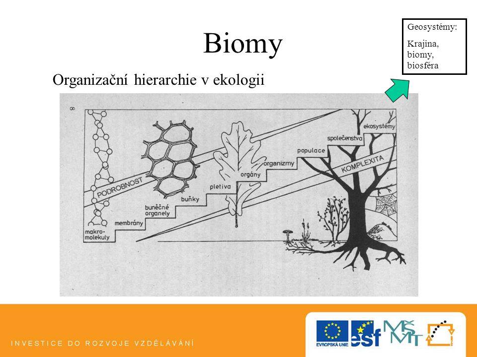 Biomy Organizační hierarchie v ekologii Geosystémy: Krajina, biomy, biosféra