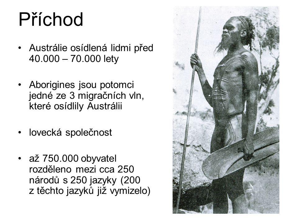 Britská kolonizace 1770 James Cook prohlásil území Austrálie za majetek britské Koruny rok 1788 – založení Sydney znamená počátek kolonizace (příjezd první flotily do Botany Bay) v prvních letech kolonizace nové choroby, jen neštovice snížily počet Aborigines o 50%