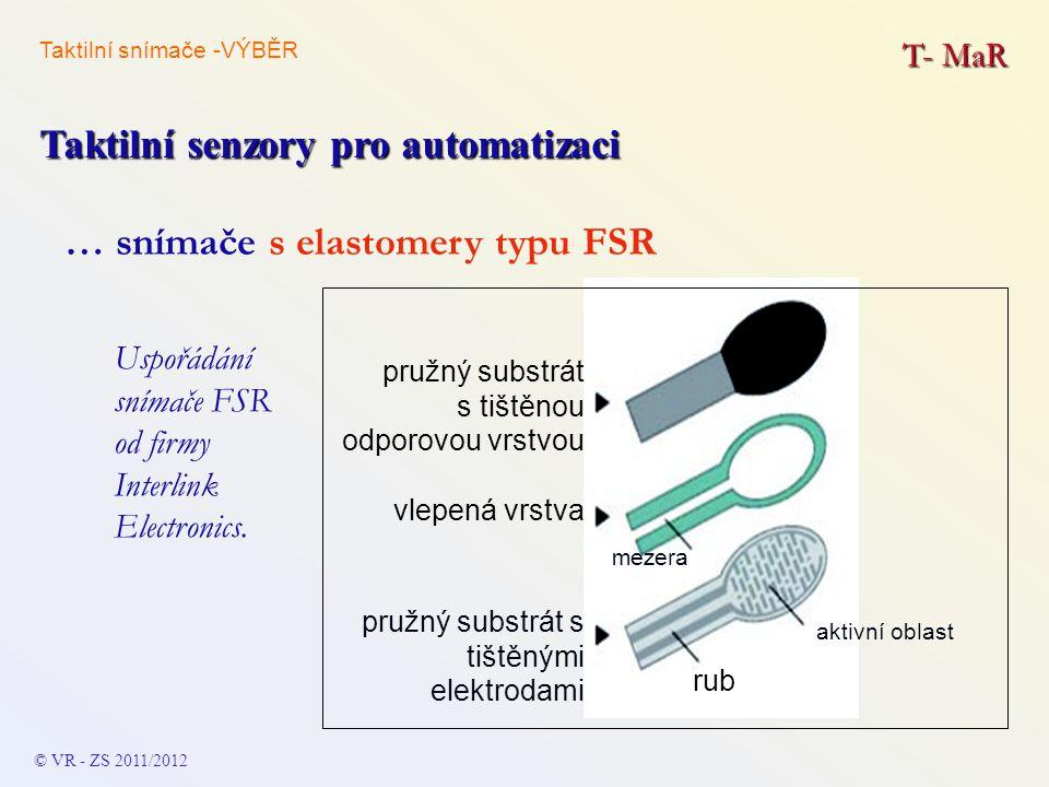 T- MaR Taktilní senzory pro automatizaci © VR - ZS 2011/2012 … snímače s elastomery typu FSR pružný substrát s tištěnou odporovou vrstvou mezera vlepe