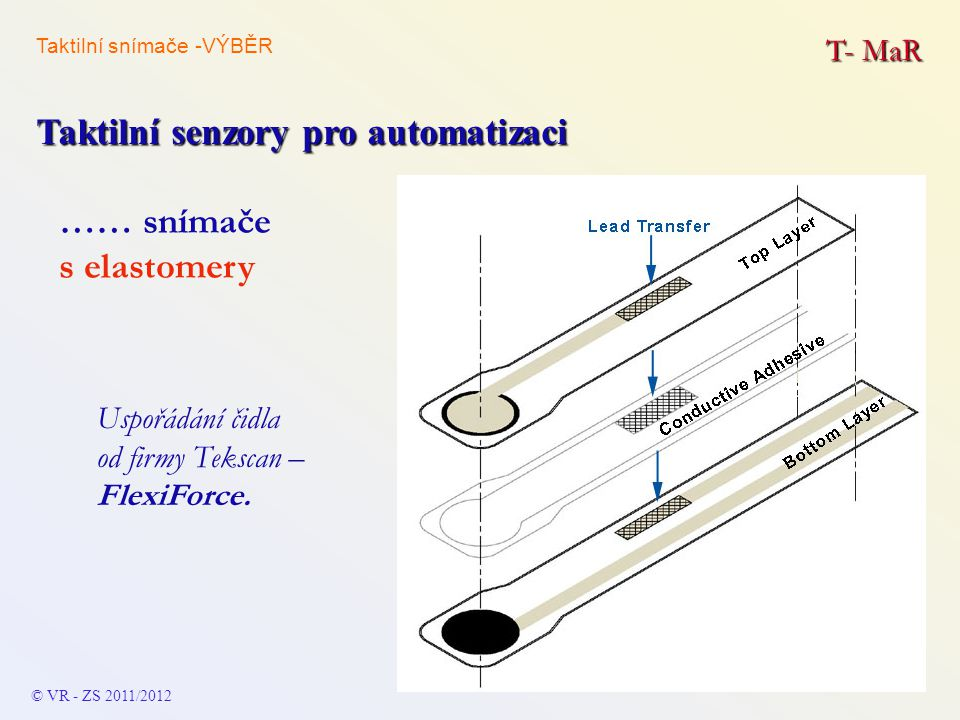T- MaR Taktilní senzory pro automatizaci © VR - ZS 2011/2012 …… snímače s elastomery Uspořádání čidla od firmy Tekscan – FlexiForce. Taktilní snímače