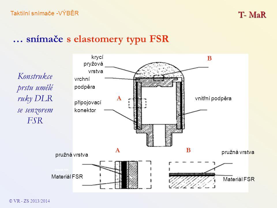 T- MaR Konstrukce prstu umělé ruky DLR se senzorem FSR © VR - ZS 2013/2014 … snímače s elastomery typu FSR vnitřní podpěra krycí pryžová vrstva vrchní