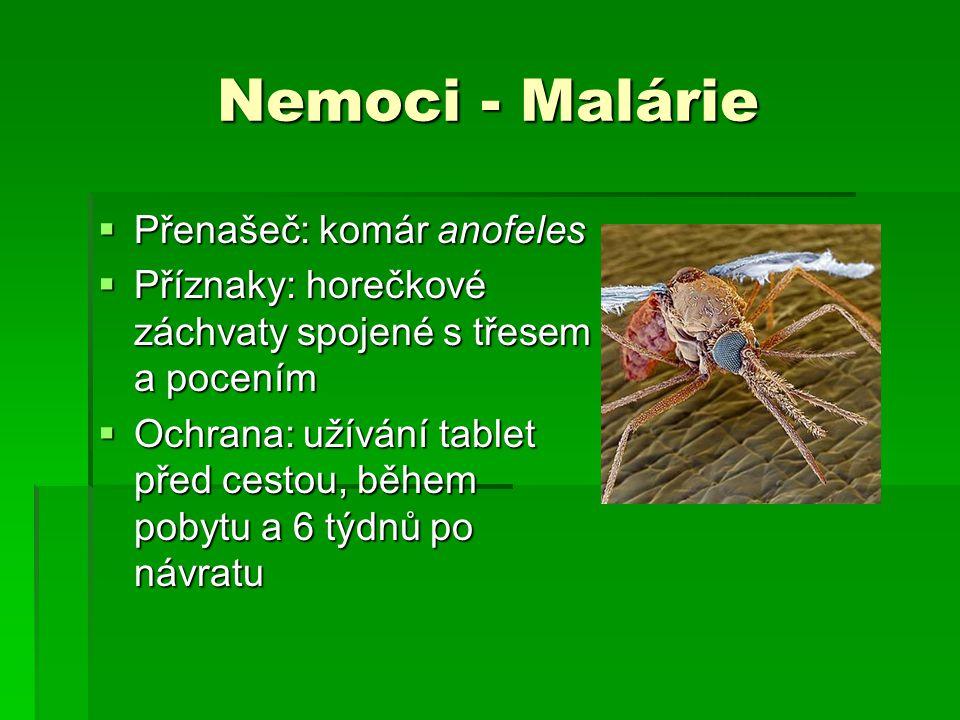 Nemoci - Malárie  Přenašeč: komár anofeles  Příznaky: horečkové záchvaty spojené s třesem a pocením  Ochrana: užívání tablet před cestou, během pob